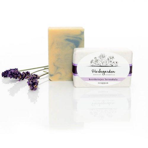 Herbsgarden kecsketejes levendula szappan Kézzel öntött, bőrtápláló olajakban gazdag szappan bio, minősített, dörgicsei lavandula angustifolia illóolajjal.
